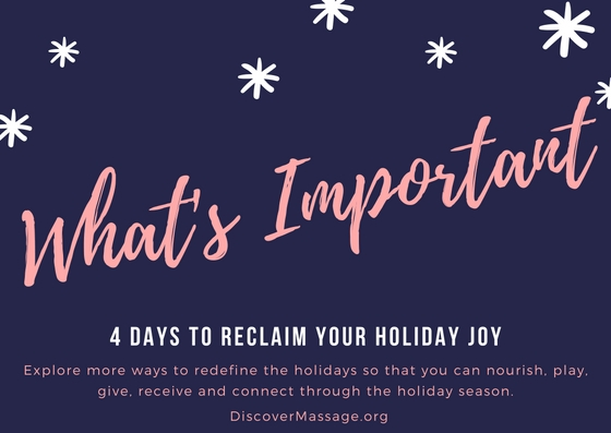 4 Days to Reclaim your Holiday Joy: Day 1 What's Important?